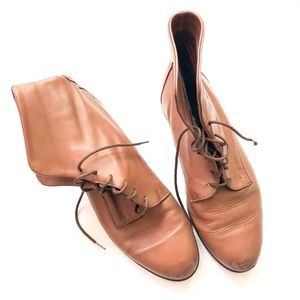 Vintage Camel Tan Leather Lace Up Ankle Boots